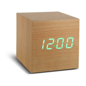 Gingko Cube Vækkeur Bøg (Grøn LED)