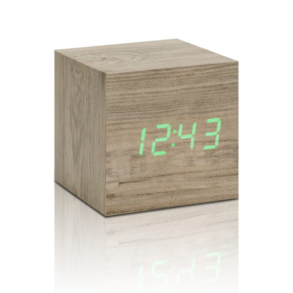 Gingko Cube Vækkeur Ask (Grøn LED)