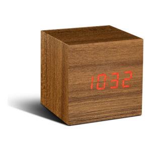 Gingko Cube Vækkeur Teak (Rød LED)