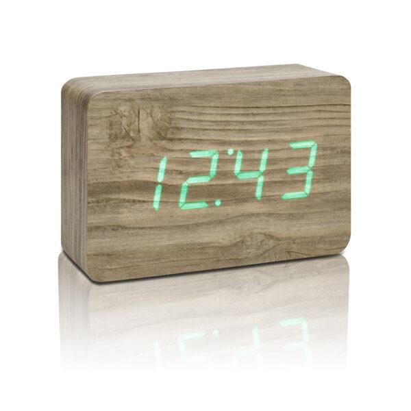 Gingko Brick LED Vækkeur Ask (Grøn LED)