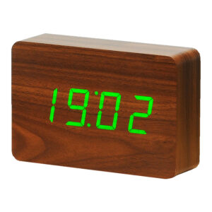 Gingko Brick LED Vækkeur Valnød (Grøn LED)
